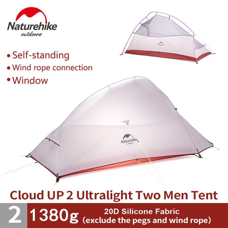 Naturehike 2 Personne Ultraléger 20D De Silicium Tente Auto Debout Tente Double couche Camping Randonnée Escalade Tente NH15T002-T