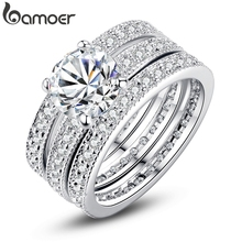 BAMOER Luxury Brand Fashion Silver Color Bridal Set Ring for Women with Paved Micro Zircon Crystal