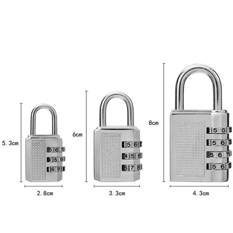 3 Digit Dial Combination Code Number Lock Padlock For Luggage Backpack Suitcase Drawer S/M/L Size--M25