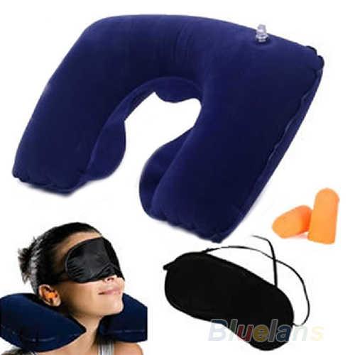 U-образная подушка для путешествий, надувная подушка для шеи, аксессуары для путешествий, комфортная Подушка, маска для глаз, наушники для сна, домашний текстиль