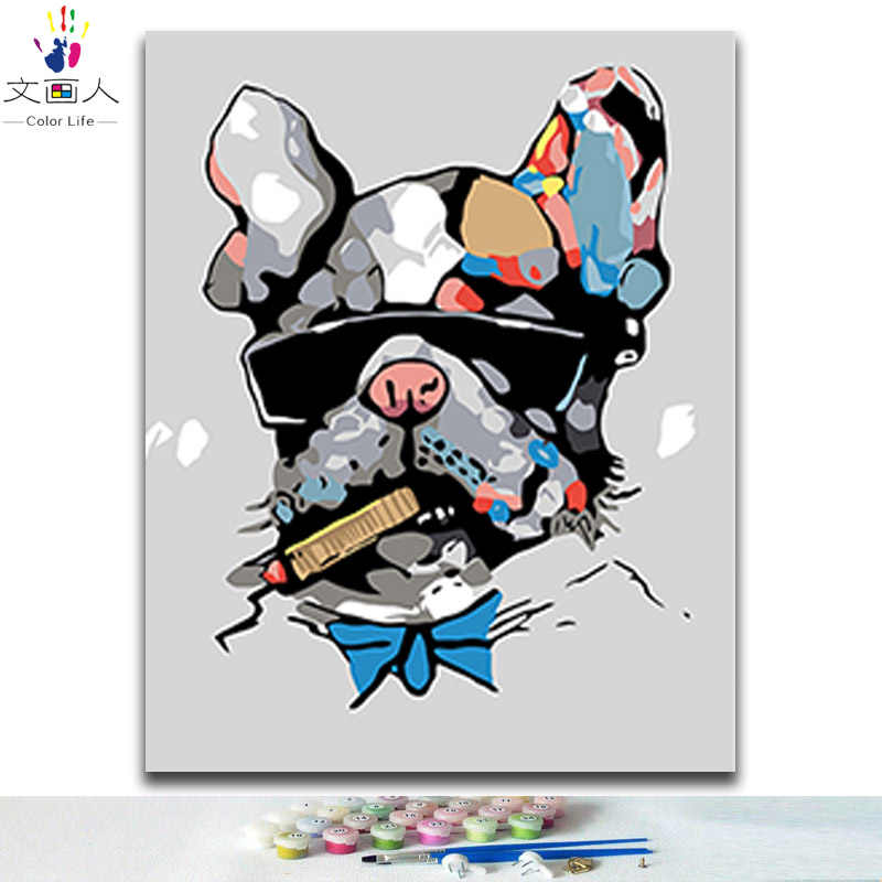 Coloring painting by numbers cool cigar Bulldog colorful animals pictures paints by numbers with kits canvas as childrens' gifts