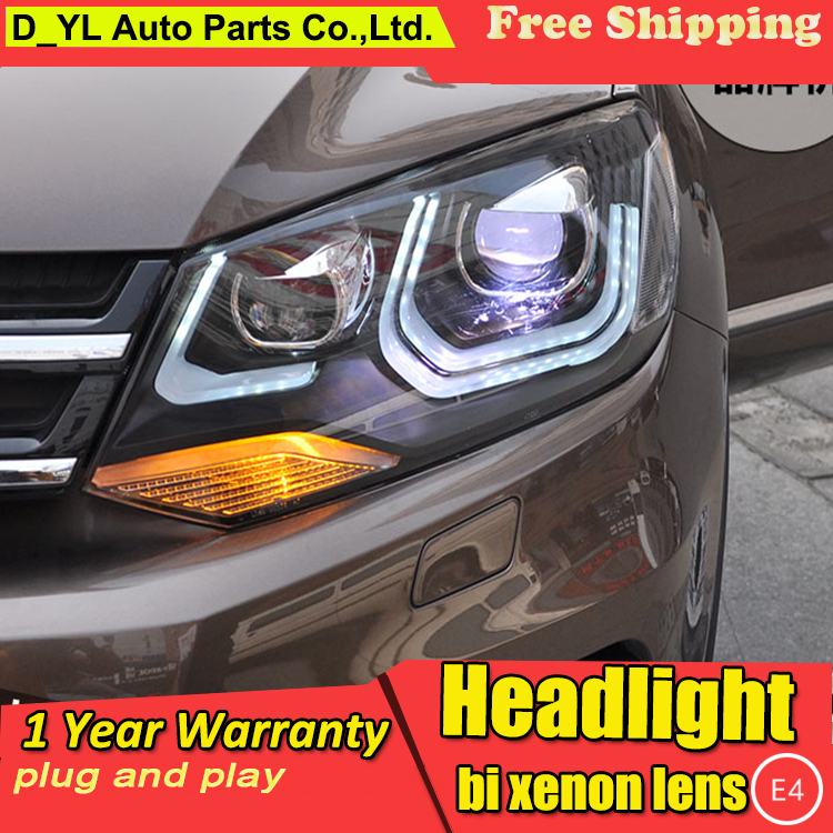 D YL Car Styling for VW Touareg Headlights 2011 2014 Touareg LED Headlight DRL Lens Double