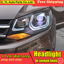 D_YL Car Styling for VW Touareg Headlights 2011-2014 Touareg LED Headlight DRL Lens Double Beam H7 HID Xenon bi xenon lens(China)