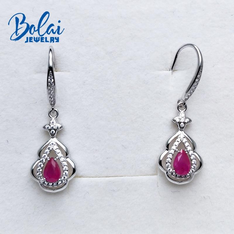 Bolaibijoux, Noble élégant 925 boucle d'oreille en argent avec rubis pierre gemme goutte d'eau pierre gemme boucle d'oreille pour les femmes cadeau romantique pour fille