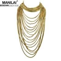 Manilai Boho Стиль нескольких слоев цепи колье себе Цепочки и ожерелья Для женщин длинной цепи Макси воротник Винтаж Jewelry Bijoux Femme ce4287