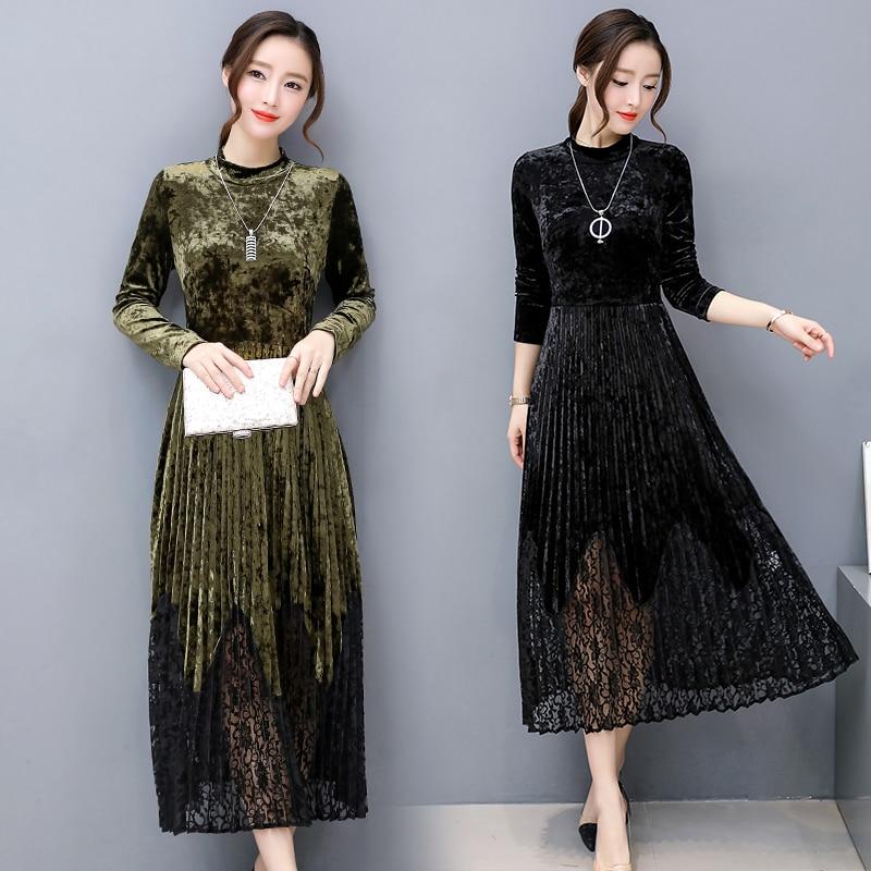 Automne hiver robes femmes à manches longues col rond dentelle Patchwork Robe une ligne Sexy robes de soirée Robe Femme