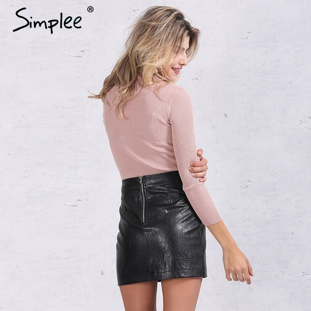 Simplee Slim halter knitted sweater women tops Autumn winter white v neck short pullover Casual black jumper pull femme