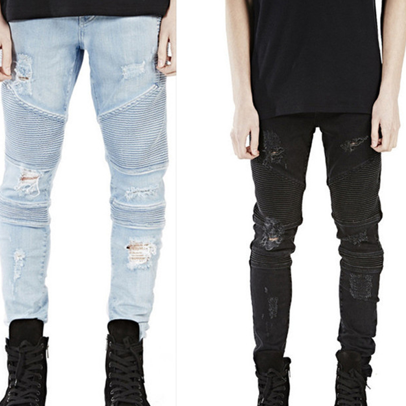 Men Jeans Masculina Casual Denim Distressed Men'S Slim Jeans Pants Brand Biker Jeans Skinny Rock Ripped Hip-Hop Jeans Homme skinny jeans men 2017 brand washed ripped jeans men casual slim fit mens biker jeans hip hop hipster zipper jeans pants homme