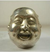 collectable old handwork copper silvered 4 faces emotion Buddha statue CP43H52 wholesale Cheap Tibetan silver Copper