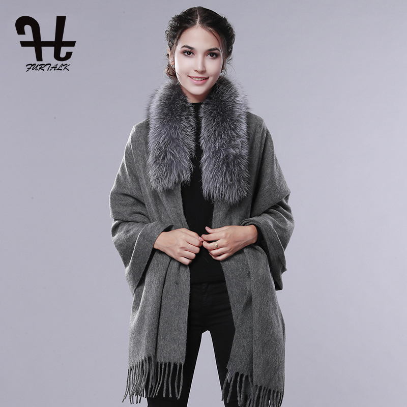 FURTALK Wool Cashmere Scarf Pashmina Women Winter Fur Shawl Poncho Fur Collar Scarf Warm Female Fur