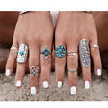 9pcs/Set Gypsy Bohemia Turquoise Ring Set Cactus Sun And Moon Carved Geometric Antique Silver Ethnic Ring  For Women J-230