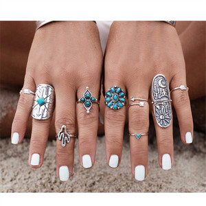 9pcs/Set Gypsy Bohemia stone Ring Set Cactus Sun And Moon Carved Geometric Antique Silver Ethnic Ring For Women J-230