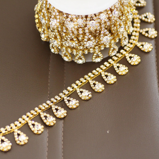 Good quality tassel Gold Rhinestone Cup Chain Sew On Rhinestone Trim For Wedding  Dress Rhinestone Belt b0d912ef1694