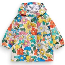 Красивая куртка с цветочным принтом для маленьких девочек весенняя куртка водонепроницаемая и ветрозащитная накидка для детей от 9 месяцев до 4 лет