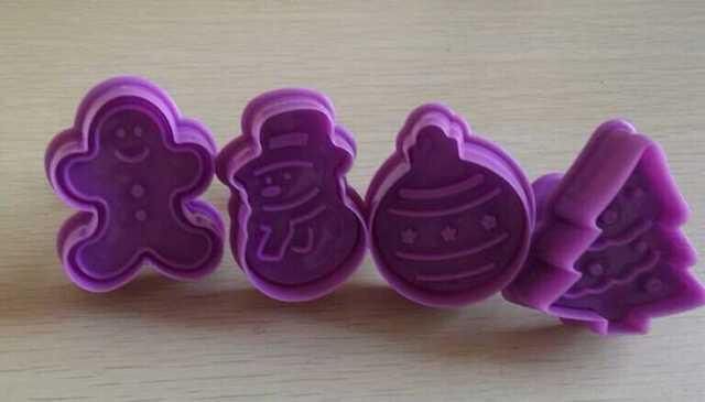 4 serie de Navidad unids/set forma de cortador de galletas de plástico de grado alimenticio cortador de galletas herramienta de cocina molde para hornear