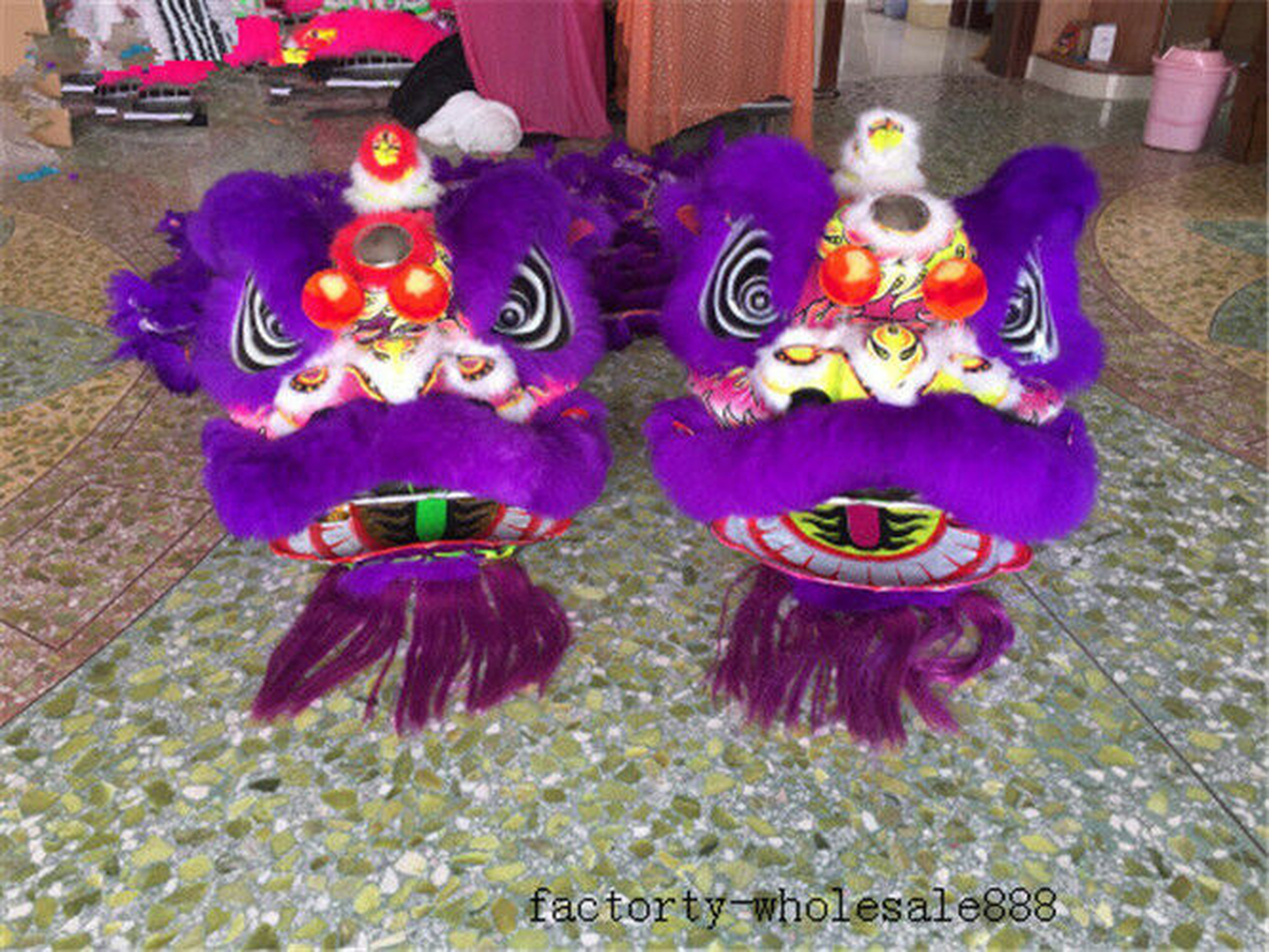 China Folk artLion Dance mascot Costume wool Southern purple Lion Costume Suits Cosplay Party Outfits Clothing Advertising