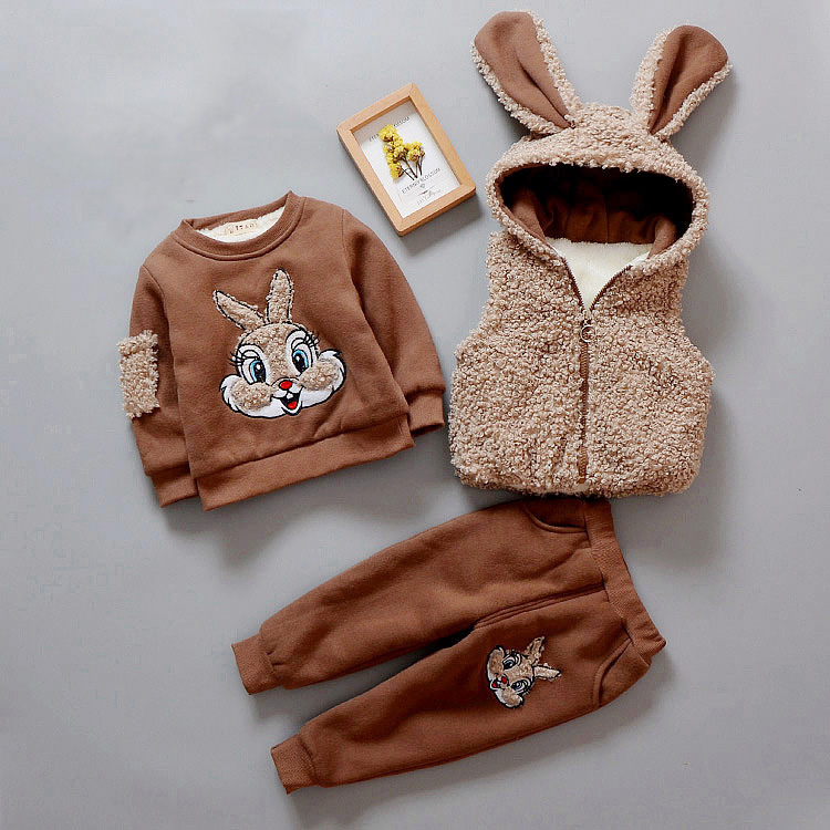 3Pcs/Set Boys Girls Clothes Set Winter Thick Warm Clothes Plus velvet Hoodie+Vest+Pants Rabbi Kids Infant Sport Suits W109
