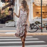 CUERLY 2019 new cream midi strappy dress frills bust casual chic summer Ruffles dress strapless holiday beach dresses