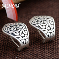 BALMORA Vintage Style 100% Real 990 Pure Silver Jewelry Geometric Clip Earrings for Women Lover Party Gifts Aretes SY31173