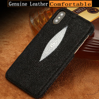 LANGSIDI Genuine Leather Case for iphone 6 plus 6s 7 8plus X XS XSMax Luxury Stingray leather Handmade Craft Custom Back Cover