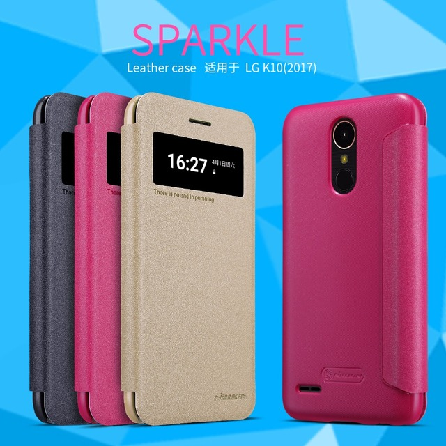 big sale 6b5de 67b85 ak For LG K10 2017 Original NILLKIN Sparkle Flip Cover For LG K10 2017  Luxury Brand Leather Case For LG K10 2017 with Package-in Flip Cases from  ...