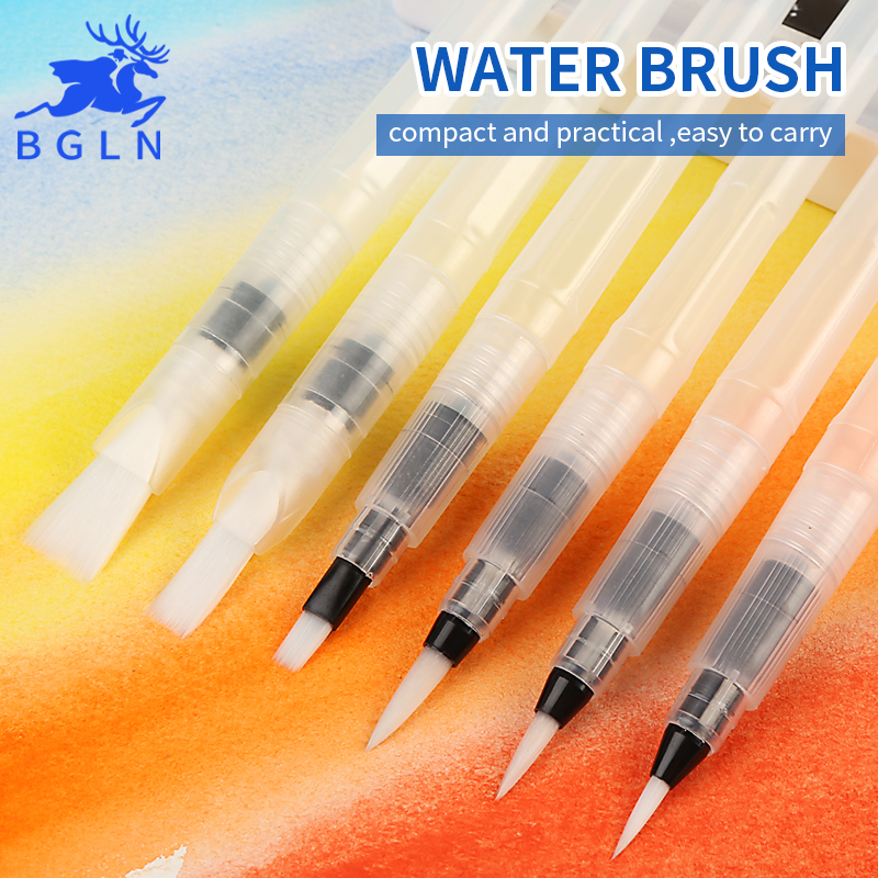 BGLN 3/6Pcs Large Capacity Barrel Water Paint Brush Set Different Shape Soft Calligraphy Painting Brush Drawing Pen Art Supplies