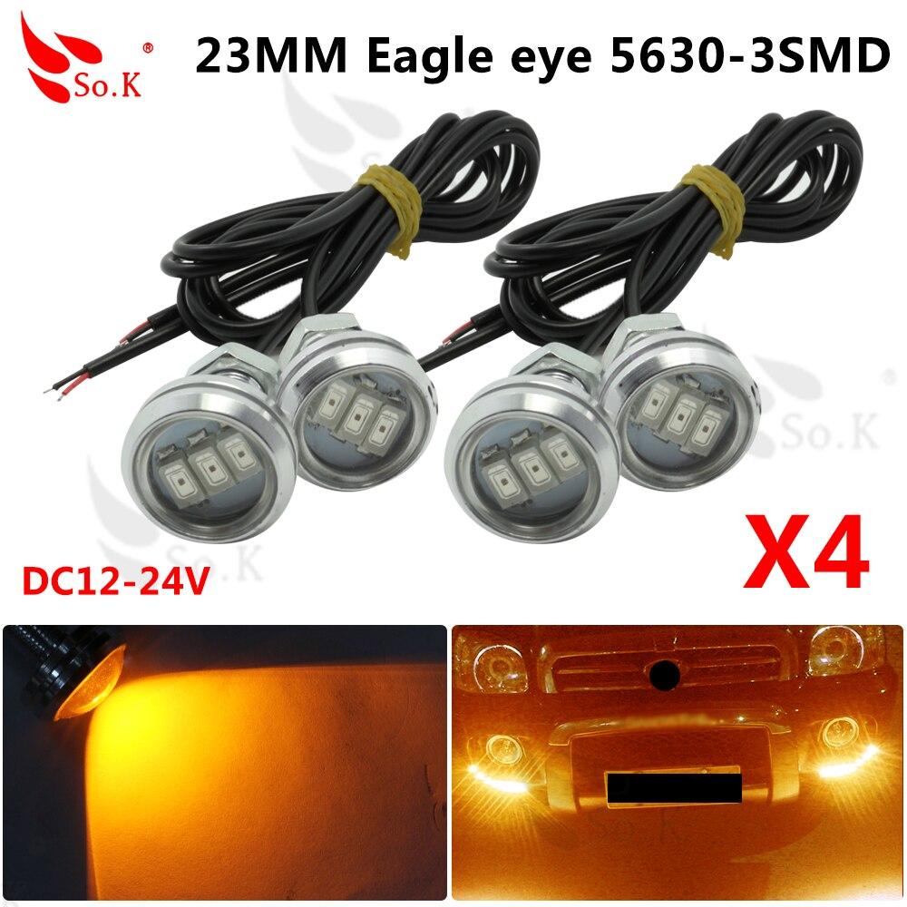 New 4pcs/set 23mm Car styling LED DRL Eagle Eye Daytime runing lights Warning Fog lights with turning signal light