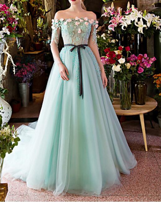 Romantic Light Blue Wedding Dresses 2017 Boat Neck Long Sleeves