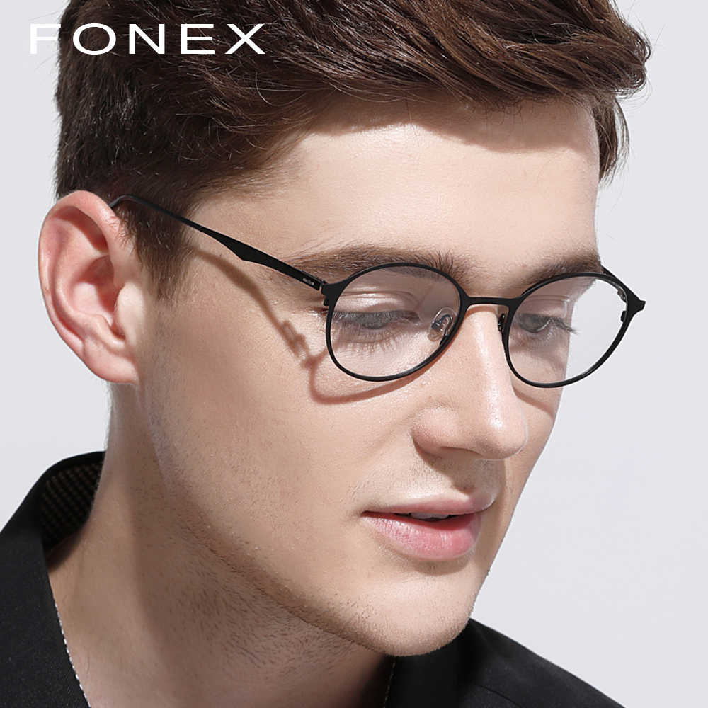 ab29b247030a Round glasses frame men titanium ultralight eye women prescription myopia  optical frame eyeglasses korean screwless jpg