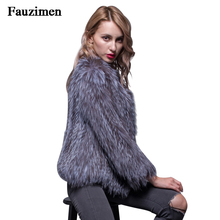 8d20f5f1a Super Quality 100% Real Natural Raccoon Fur Women Coat O-Neck Genuine  Knitted Fox