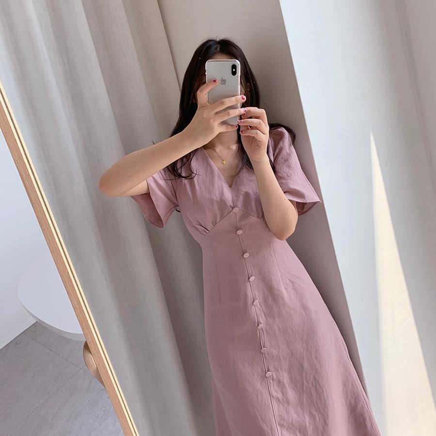 Летнее платье с треугольным вырезом и кнопками, большие размеры, Женские винтажные вечерние платья в стиле бохо с коротким рукавом|Платья|   | АлиЭкспресс