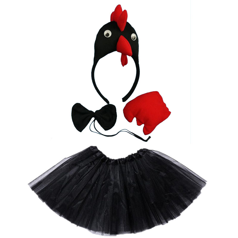Purim Kids Adult Farm Chicken Chick Headband Tail Tie Skirt  Animal Cosplay Props Birthday Party Costume Halloween Carnival