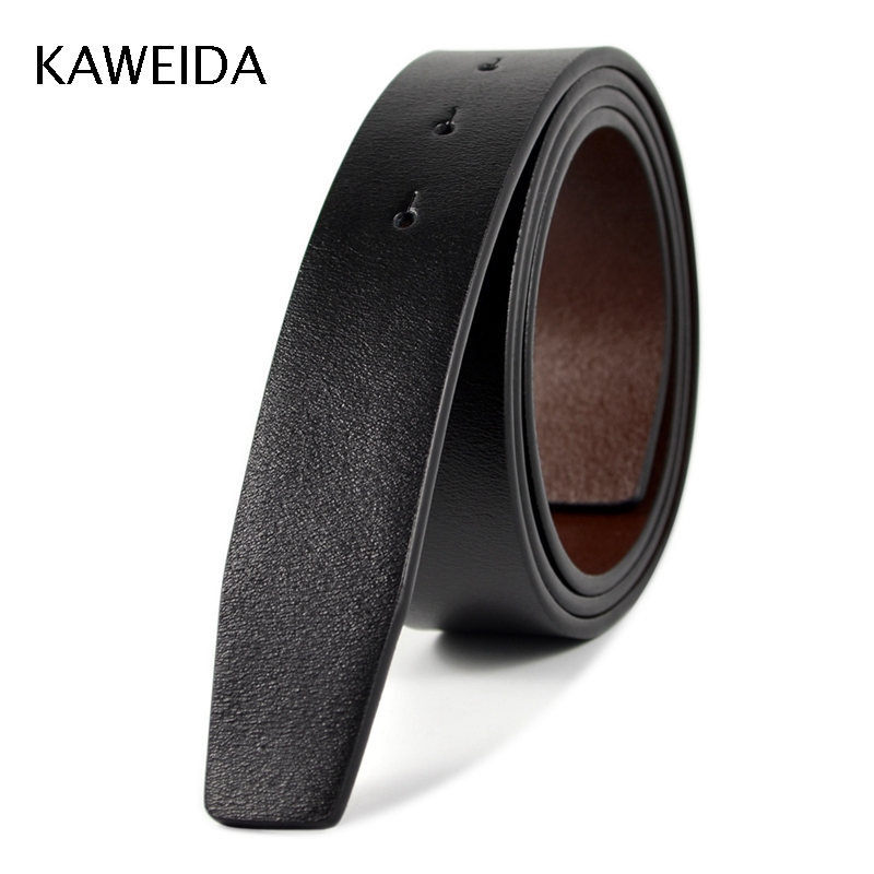 KAWEIDA 3.4cm Wide Men's Cowskin Genuine Split Leather No Without Buckle Waist   Belt   Body Black   Belts   Cinto Kemer