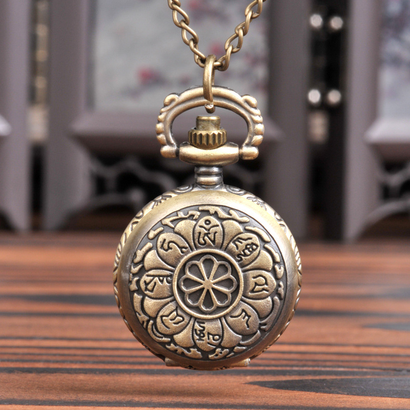 6049   Chinese Antique Pocket Watch Small Bronze Oracle Bone Shell Pocket Watch Vintage Shell Petal Pocket Watch Factory Direct