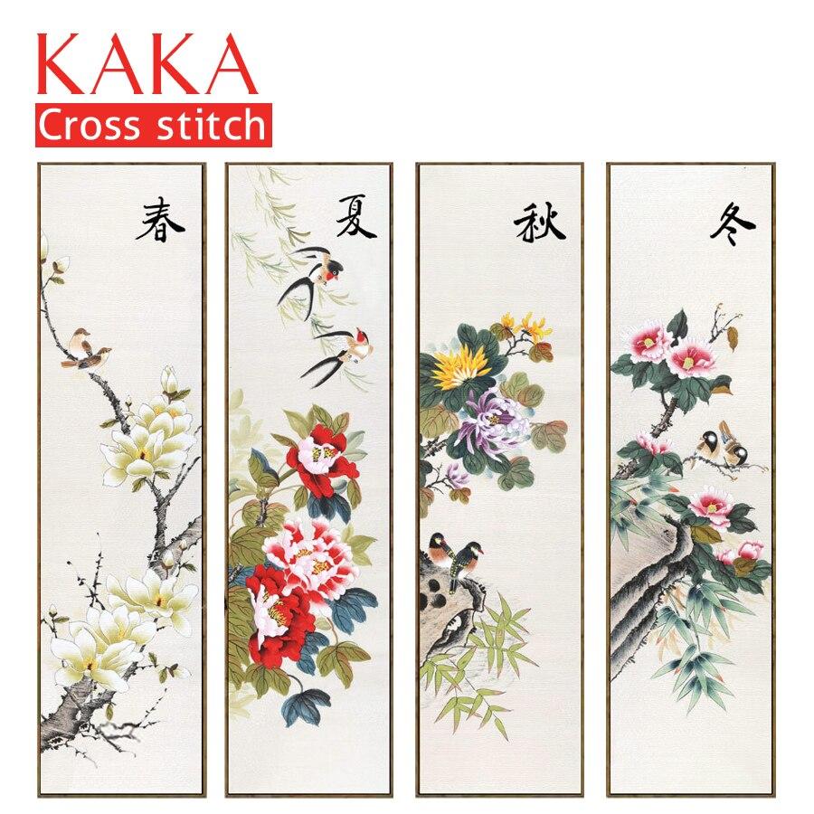 KAKA Cross stitch kits 5D Quadruple Season Flowers Embroidery needlework sets with printed pattern 11CT canvas