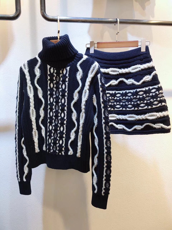 2018 women ladies stripe knitted sweater skirt set clothes