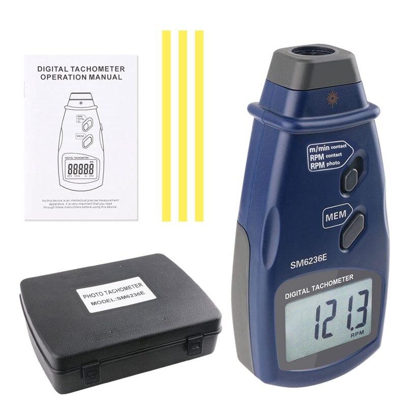 3in1 tachymètre numérique Laser sans Contact Photo RPM Rotation vitesse mètre Contact Surface vitesse données magasin Tach outils de mesure