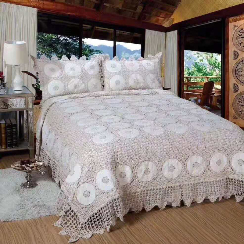 FAMVOTAR Luxury 100 Cotton Hand Crochet Quilts Bedspread 3Pieces Bed Coverlets Cover Set King Size Hand