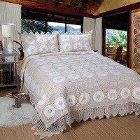 Famvotar luxo 100% algodão mão crochê colchas colcha 3 peças cama coverlets capa conjunto king size feito à mão colcha 4 temporada