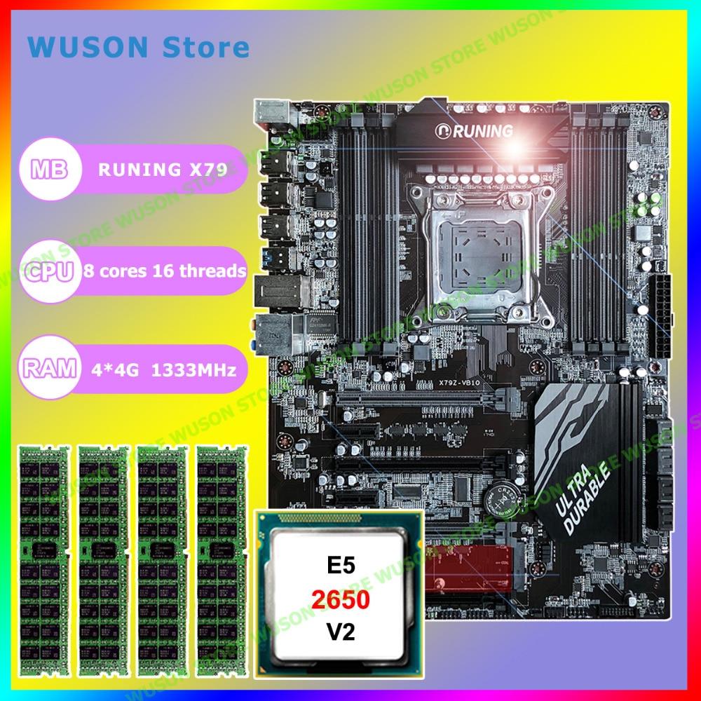 купить New!!Runing Super ATX X79 LGA2011 motherboard 8 DDR3 DIMM slots max 8*16G memory Xeon E5 2650 V2 CPU 16G(4*4G)1333MHz DDR3 RECC по цене 25184.23 рублей