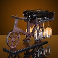 цена на Creative Bicycle wood wine rack European fashion bar wine rack wine glass holder