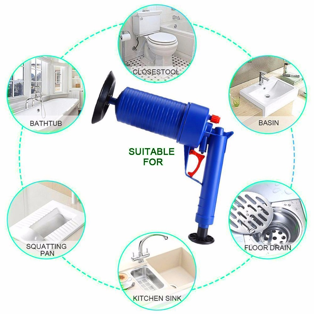Image 5 - Air Drain Blaster High Pressure Pump Cleaner Unclogs Toilet Sewer Cleaning Brush Kitchen Bathroom Powered Plunger Remover Tool-in Drain Cleaners from Home & Garden