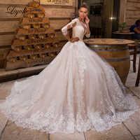 Liyuke Elegante Applique Und Tüll Hochzeit Kleider EINE Linie Drei Viertel Ärmeln Hochzeit Kleid