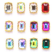 new 2019 Square 3D Gold Charm 100pcs Nail Decorations Glitter Alloy Jewelry Rhinestones DIY Nail Jewelry Nail Supplies Nail Art new 3d charm alloy nail art rhinestone decoration wheel diy beauty nail jewelry supplies