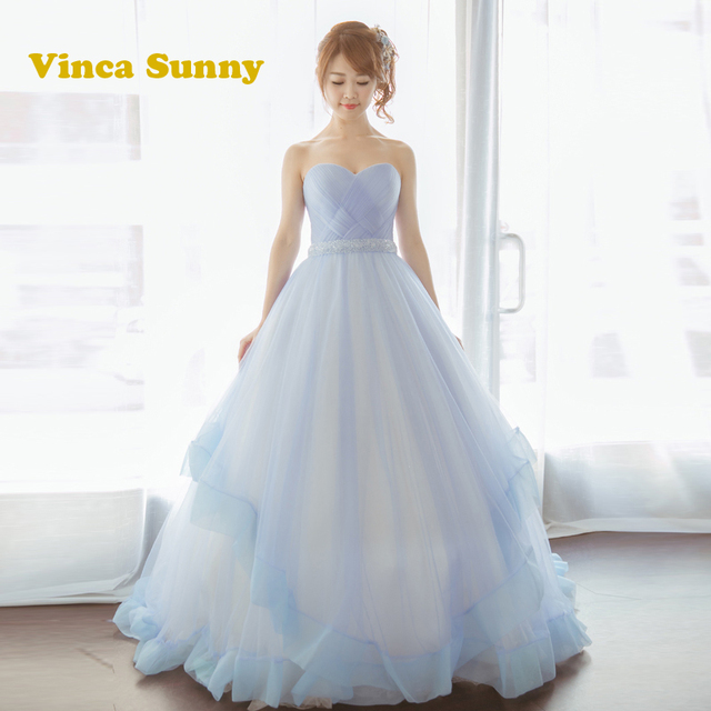 Vinca Sunny Candy Color Light Blue Wedding Gowns 2017 Ruffles Ruched Appliques Bridal Dresses Puffy Ball