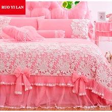 สีขาวสีชมพูเกาหลีเจ้าหญิงชุดเครื่องนอน4ชิ้นลูกไม้R Ufflesผ้านวมปกผ้าคลุมเตียงกระโปรงเตียงที่นอนหมอนมุ้งแต่งงานพระมหากษัตริย์พระราชินีของขวัญกระเป๋า