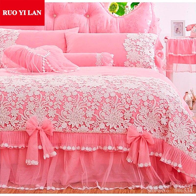 White Pink Korean Princess Bedding Set 4pcs Lace Ruffles duvet cover bedspread bed skirt bedclothes wedding king queen Gift Bag