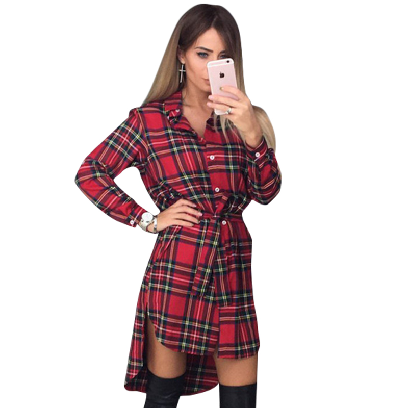 Plaid Women Shirt Dress Vintage Button Bandage Dress Irregular HemTurn Down Collar Long Sleeve Mini Dress Women Clothes LJ5932T