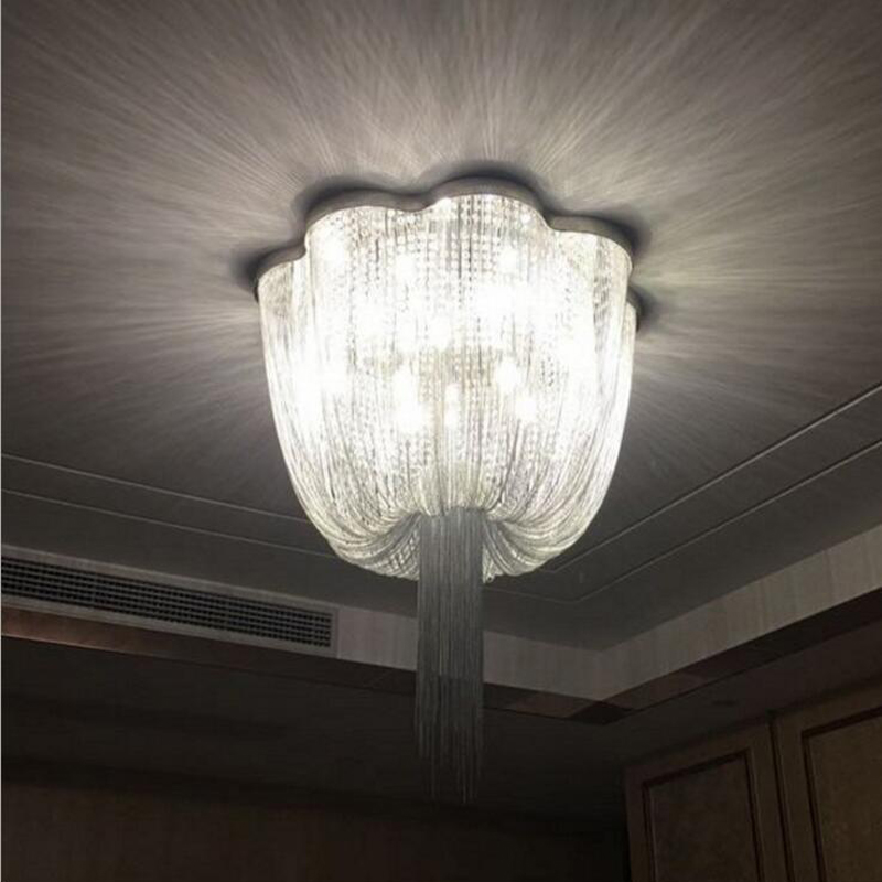 Post-modern luxury tassels aluminum chain ceiling lamp living room bedroom stainless steel chain crystal chandeliers led lamps chain hoist double entry stair lamp engineering design luxury chain tassel aluminum chain pendant lamp
