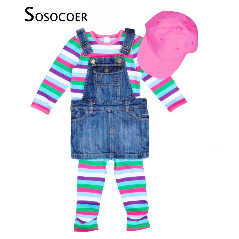 SOSOCOER Baby Girl Clothing Sets Autumn Stripe T Shirt+Pants+Strap Denim Skirt+Cap&Hat 4pcs Kids Clothing Set For Girls Clothes 2pcs children outfit clothes kids baby girl off shoulder cotton ruffled sleeve tops striped t shirt blue denim jeans sunsuit set